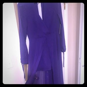 Purple chiffon low cut long sleeve romper